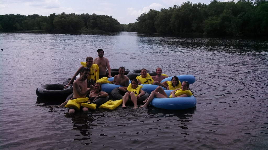 Wisconsin Badgers river tubing